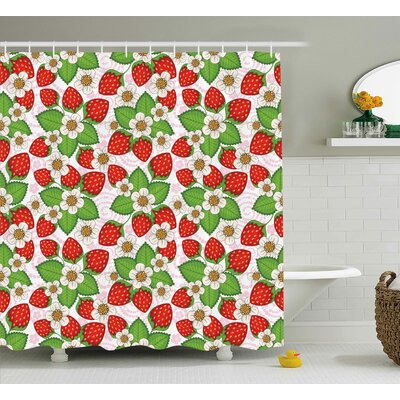 "Burleigh Floral Strawberry Scene Shower Curtain Size: 69"" W x 84"" L"