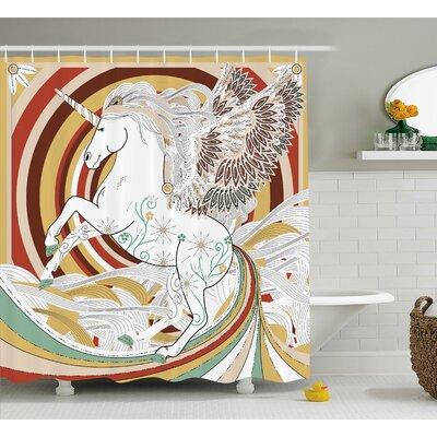 "Unicorn Ancient Unicorn Decor Shower Curtain Size: 69"" W x 70"" L"