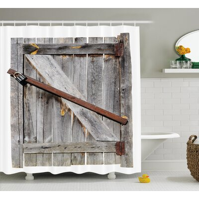 "Rustic Aged Wooden Barn Door Shower Curtain Size: 69"" W x 70"" L"