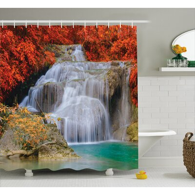 "Scenery Autumn Leaves on Lake Shower Curtain Size: 69"" W x 75"" L"