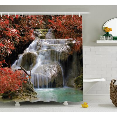 "Landscape Fall Trees with Rock Shower Curtain Size: 69"" W x 70"" L"