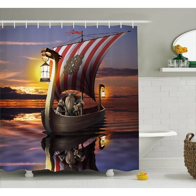 "Viking Barbarian Warrior Print Shower Curtain Size: 69"" W x 84"" L"