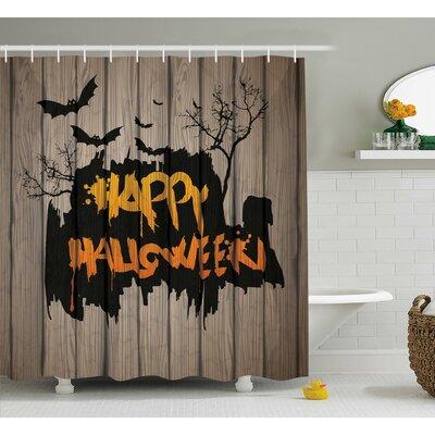 "Halloween Decor Quote Bats Art Shower Curtain Size: 69"" W x 75"" L"