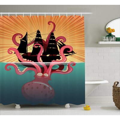 "Ocean Coral Sea Monster Folk Shower Curtain Size: 69"" W x 84"" L"