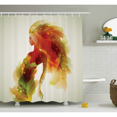 "Florance Girl Abstract Lady Shower Curtain Size: 69"" W x 70"" L"