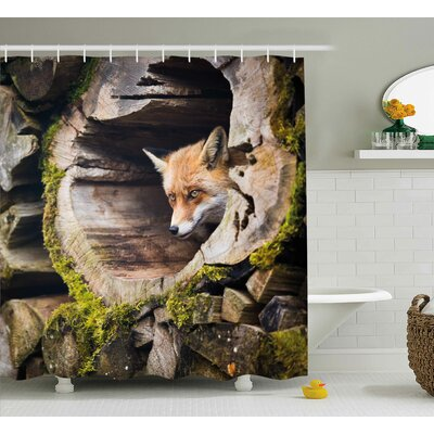 """Animal Nature Wild Fox Forest Shower Curtain Size: 69"""" W x 70"""" L"""