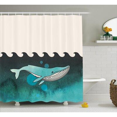 """Animal Whale near Palm Island Shower Curtain Size: 69"""" W x 70"""" L"""