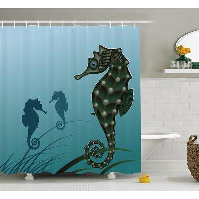 "Animal Sea Creatures Aquatic Shower Curtain Size: 69"" W x 75"" L"