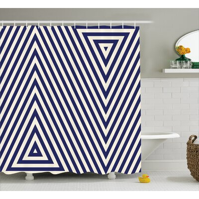 """Chatham Triangle and Stripes Shower Curtain Size: 69"""" W x 75"""" L"""
