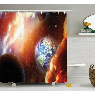 "Helga Nebula Stars in Solar Shower Curtain Size: 69"" W x 84"" L"