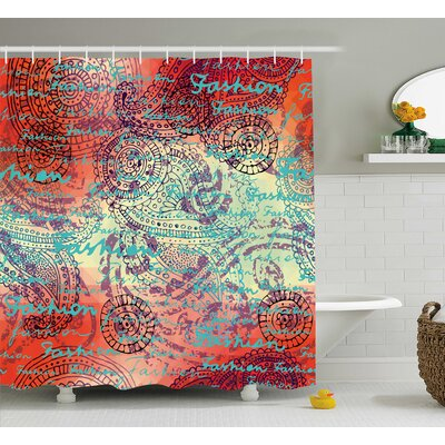 "Alvarado Grunge Indian Paisley Shower Curtain Size: 69"" W x 70"" L"