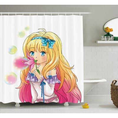 "Anime Decor Manga Cartoon Art Shower Curtain Size: 69"" W x 70"" L"