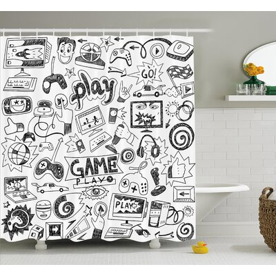 """Video Games Black and White Shower Curtain Size: 69"""" W x 84"""" L"""