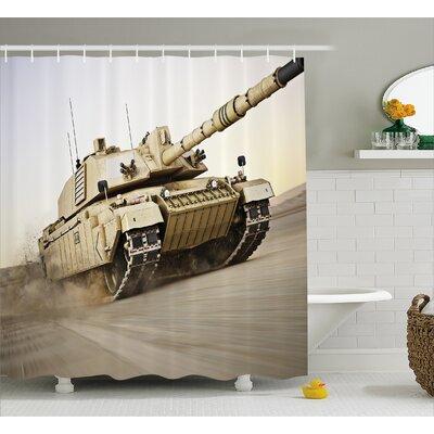 "Alber Armored Tank War Battle Shower Curtain Size: 69"" W x 70"" L"