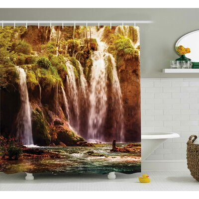 """Nature Waterfall Forest Trees Shower Curtain Size: 69"""" W x 70"""" L"""