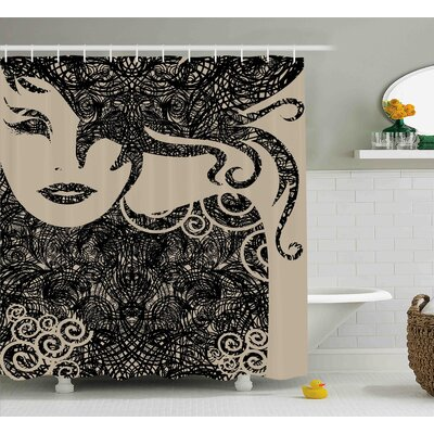"""Baumer Woman with Cool Posing Shower Curtain Size: 69"""" W x 84"""" L"""