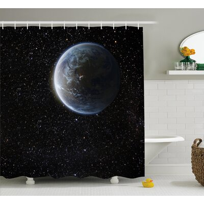 """Moon Planet Earth Cosmos Shower Curtain Size: 69"""" W x 70"""" L"""