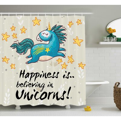 """Axel Quote Happiness Kids Shower Curtain Size: 69"""" W x 70"""" L"""