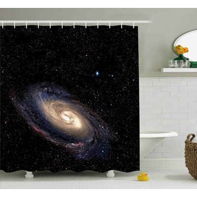 """Spiral Space Universe Shower Curtain Size: 69"""" W x 84"""" L"""