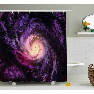 """Cloudy Space Cosmos Shower Curtain Size: 69"""" W x 70"""" L"""