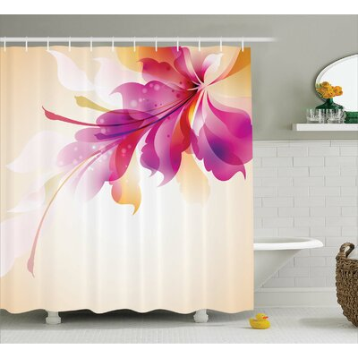 """Adeline Floral Point and Leaf Shower Curtain Size: 69"""" W x 70"""" L"""