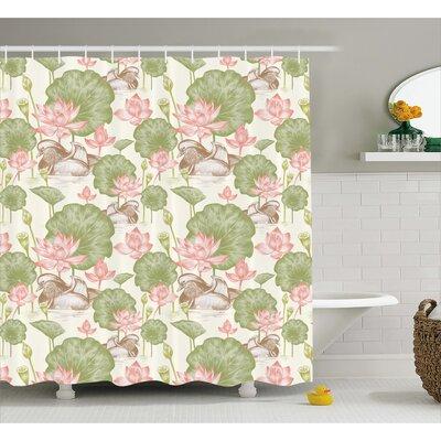 "Angelina Lotus Flowers Pond Lilies Shower Curtain Size: 69"" W x 70"" L"