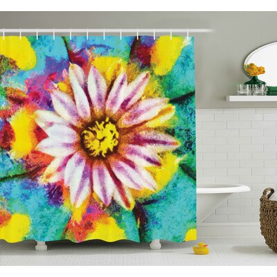 "Flower Oil Painting Effect Art Shower Curtain Size: 69"" W x 75"" L"