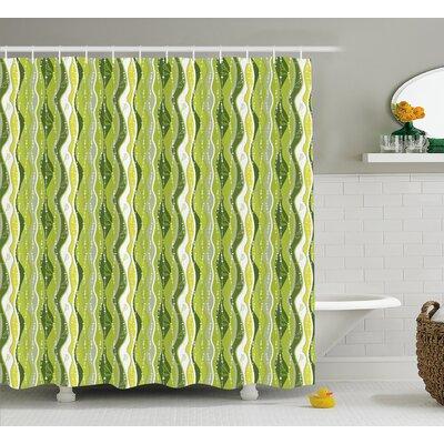 """Charlemont Digital Leaf Floral Lines Shower Curtain Size: 69"""" W x 75"""" L"""