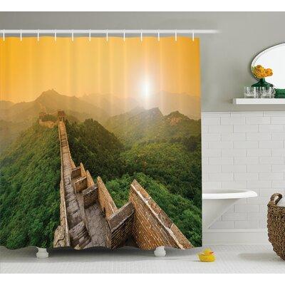 """Landscape Jinshanling Fences Shower Curtain Size: 69"""" W x 70"""" L"""