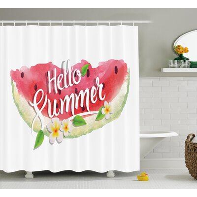 """Watercolor Summer Welcome Quote Shower Curtain Size: 69"""" W x 84"""" L"""
