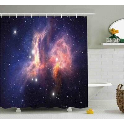 """Stardust in Universe Shower Curtain Size: 69"""" W x 70"""" L"""