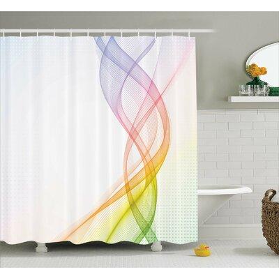 """Aide Rainbow Wavy Smoke Shower Curtain Size: 69"""" W x 70"""" L"""