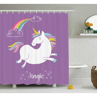 """Axel Purple Kids Rainbow Shower Curtain Size: 69"""" W x 75"""" L"""