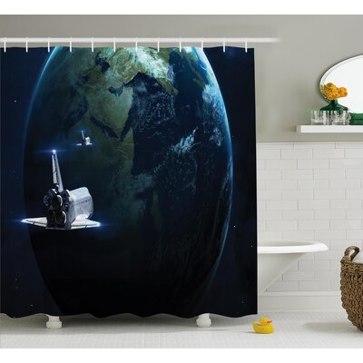 """Spaceship Earth Fiction Shower Curtain Size: 69"""" W x 70"""" L"""