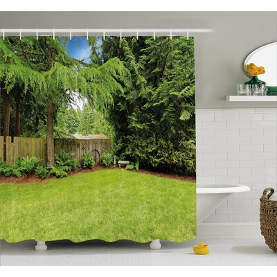 "Rustic Pine Trees Backyard Shower Curtain Size: 69"" W x 75"" L"