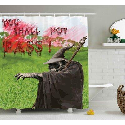 "Mystic Bloody Evil Quotation Shower Curtain Size: 69"" W x 84"" L"