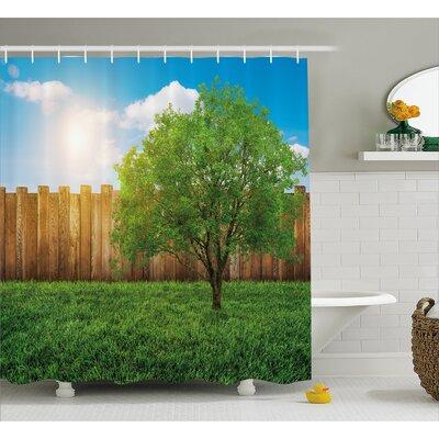 """Scenery Life Tree Yard Field Shower Curtain Size: 69"""" W x 70"""" L"""