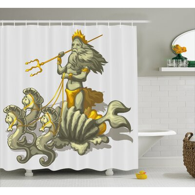 "Sealife Shell Seahorse Greek Shower Curtain Size: 69"" W x 84"" L"