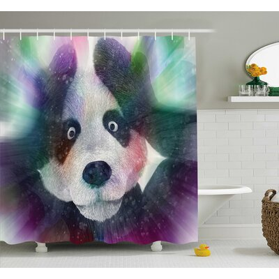 "Fabric Psychedelic Panda Shower Curtain Size: 69"" W x 84"" L"