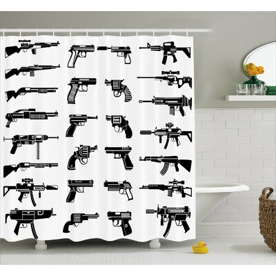 "Alber Guns Riffles War Combat Shower Curtain Size: 69"" W x 70"" L"