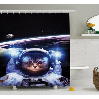 """Space Funny Astronaut Cat Humor Shower Curtain Size: 69"""" W x 70"""" L"""