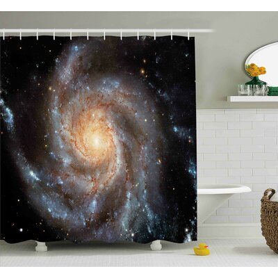 """Star Disc in Huge Space Shower Curtain Size: 69"""" W x 70"""" L"""