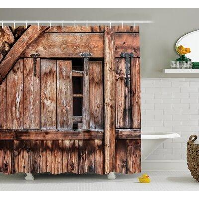 "Rustic Oak Abandoned Barn Door Shower Curtain Size: 69"" W x 70"" L"