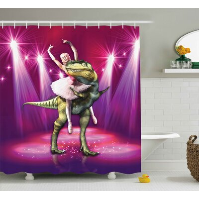 """Animal Dancing Ballerina Shower Curtain Size: 69"""" W x 75"""" L"""