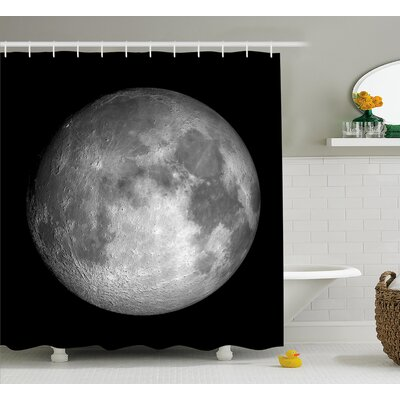 """Trippy Moon Planet Space Shower Curtain Size: 69"""" W x 70"""" L"""
