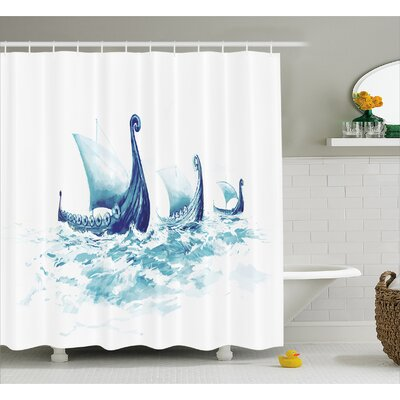 "Viking Decor Ship Nordic Sea Shower Curtain Size: 69"" W x 84"" L"