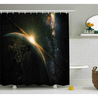"Sun Rising above Earth Shower Curtain Size: 69"" W x 70"" L"