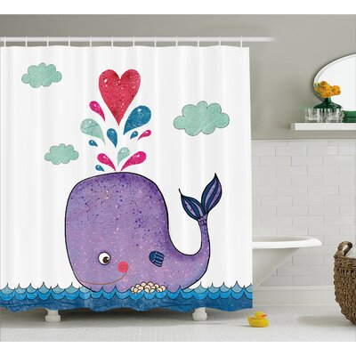 """Turner Smiley Whale with Cloud Shower Curtain Size: 69"""" W x 75"""" L"""