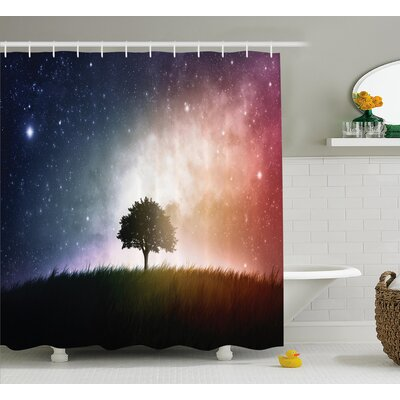 "Helga Tree in Field with Stars Shower Curtain Size: 69"" W x 70"" L"
