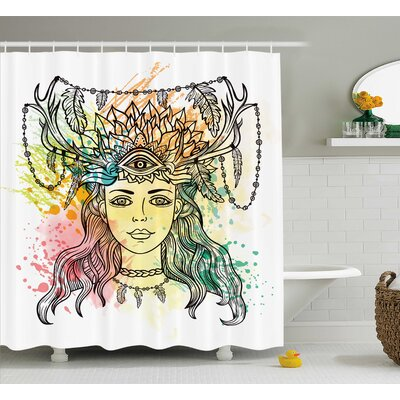 "Fabric Female Shaman Feathers Shower Curtain Size: 69"" W x 70"" L"